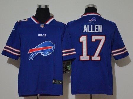 Men's Bills #17 Josh Allen Royal Football Team Big Logo Fashion Vapor Untouchable Limited Jersey
