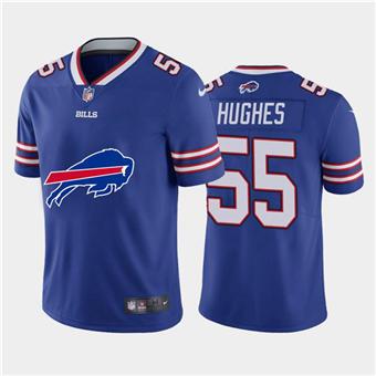 Men's Bills #55 Jerry Hughes Royal Football Team Big Logo Fashion Vapor Limited Jersey
