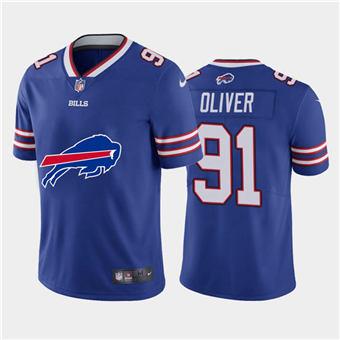 Men's Bills #91 Ed Oliver Royal Football Team Big Logo Fashion Vapor Limited Jersey