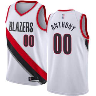Men's Blazers #00 Carmelo Anthony White Basketball Swingman Association Edition Jersey