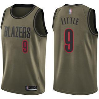 Men's Blazers #9 Nassir Little Green Salute to Service Basketball Swingman Jersey