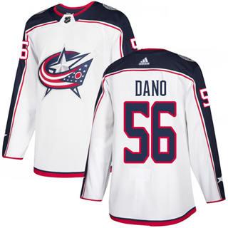 Men's Blue Jackets #56 Marko Dano White Road Authentic Stitched Hockey Jersey