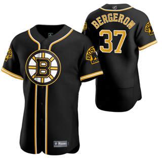 Men's Boston Bruins #37 Patrice Bergeron 2020 Hockey x Baseball Crossover Edition Jersey Black