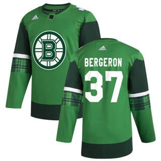 Men's Boston Bruins #37 Patrice Bergeron 2020 St. Patrick's Day Stitched Hockey Jersey Green