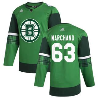 Men's Boston Bruins #63 Brad Marchand 2020 St. Patrick's Day Stitched Hockey Jersey Green