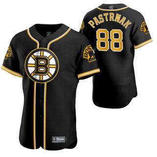 Men's Boston Bruins #88 David Pastrnak 2020 Hockey x Baseball Crossover Edition Jersey Black