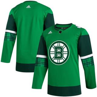 Men's Boston Bruins Blank 2020 St. Patrick's Day Stitched Hockey Jersey Green