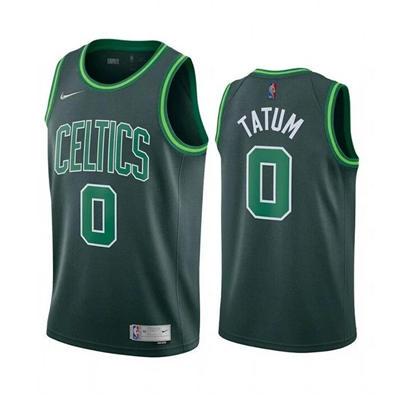 Men's Boston Celtics #0 Jayson Tatum Earned Edition Green Stitched Basketball Jersey