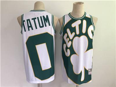 Men's Boston Celtics #0 Jayson Tatum White and Green Big Face Throwback Stitched Basketball Jersey