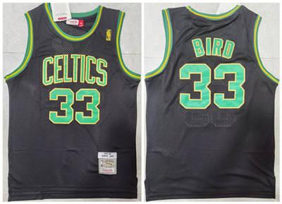 Men's Boston Celtics #33 Larry Bird Black Green Throwback Stitched Basketball Jersey