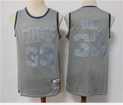 Men's Boston Celtics #33 Larry Bird Grey Throwback Stitched Basketball Jersey