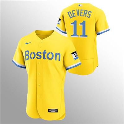 Men's Boston Red Sox #11 Rafael Devers Gold 2021 City Connect Flex Base Stitched Baseball Jersey