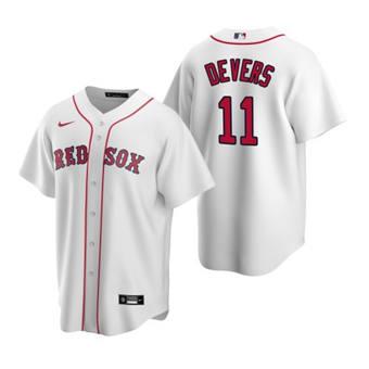 Men's Boston Red Sox #11 Rafael Devers White Cool Base Stitched Baseball Jersey