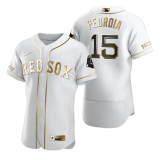 Men's Boston Red Sox #15 Dustin Pedroia White 2020 Authentic Golden Edition Baseball Jersey