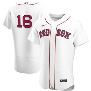 Men's Boston Red Sox #16 Andrew Benintendi 2020 White Home Authentic Player Baseball Jersey