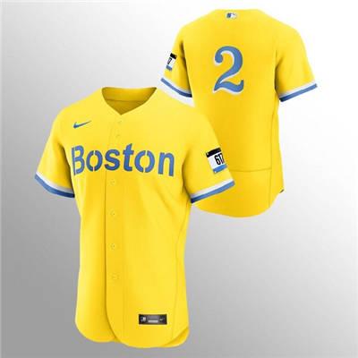 Men's Boston Red Sox #2 Xander Bogaerts Gold 2021 City Connect Flex Base Stitched Baseball Jersey