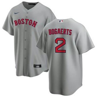 Men's Boston Red Sox #2 Xander Bogaerts Grey Cool Base Stitched Baseball Jersey