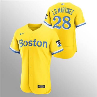 Men's Boston Red Sox #28 J.D. Martinez Gold 2021 City Connect Flex Base Stitched Baseball Jersey