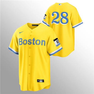 Men's Boston Red Sox #28 J.D. Martinez Gold 2021 City Connect Stitched Baseball Jersey