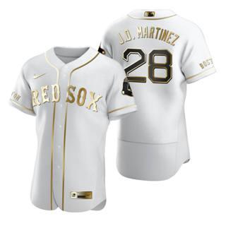 Men's Boston Red Sox #28 J.D. Martinez White 2020 Authentic Golden Edition Baseball Jersey