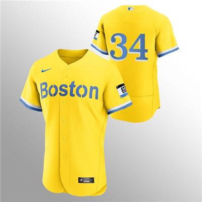 Men's Boston Red Sox #34 David Ortiz Gold 2021 City Connect Flex Base Stitched Baseball Jersey
