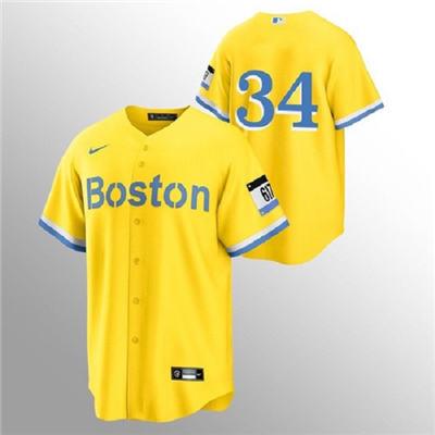 Men's Boston Red Sox #34 David Ortizi Gold 2021 City Connect Stitched Baseball Jersey