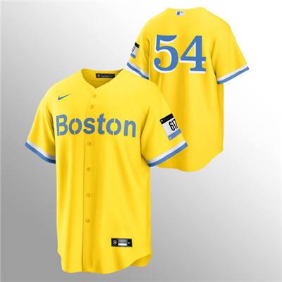 Men's Boston Red Sox #54 Martin Perez Gold 2021 City Connect Stitched Baseball Jersey
