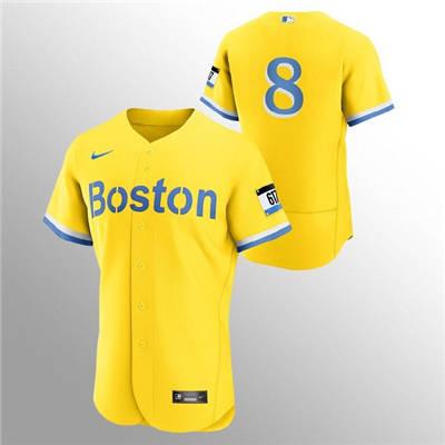 Men's Boston Red Sox #8 Carl Yastrzemski Gold 2021 City Connect Flex Base Stitched Baseball Jersey