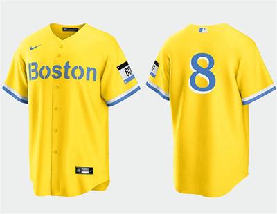Men's Boston Red Sox #8 Carl Yastrzemski Gold 2021 City Connect Stitched Baseball Jersey