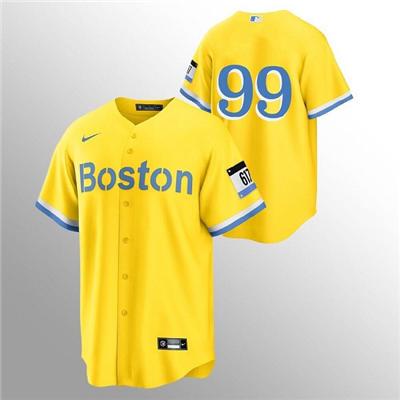 Men's Boston Red Sox #99 Alex Verdugo Gold 2021 City Connect Stitched Baseball Jersey