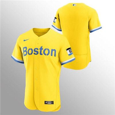 Men's Boston Red Sox Blank Gold 2021 City Connect Flex Base Stitched Baseball Jersey