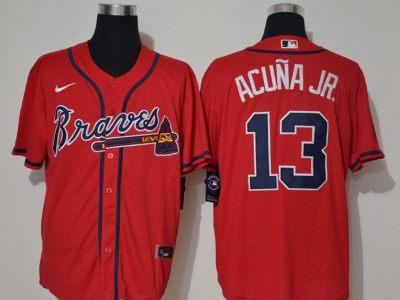 Men's Braves #13 Ronald Acuna Jr. Red 2020 Baseball Jersey