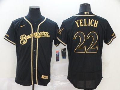 Men's Brewers #22 Christian Yelich Black Gold 2020 Baseball Flexbase Jersey