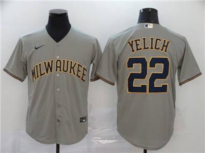 Men's Brewers #22 Christian Yelich Gray 2020 Baseball Cool Base Jersey