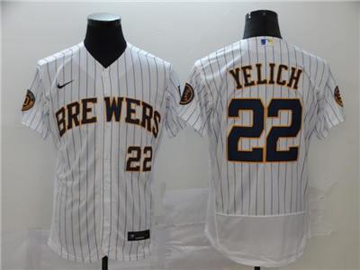 Men's Brewers #22 Christian Yelich White Strip 2020 Stitched Baseball Flexbase Jersey