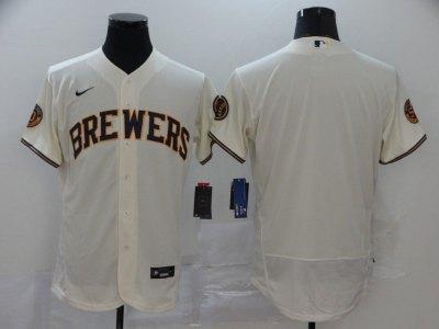Men's Brewers Blank Cream 2020 Baseball Flexbase Jersey