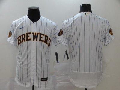 Men's Brewers Blank White Strip 2020 Baseball Flexbase Jersey