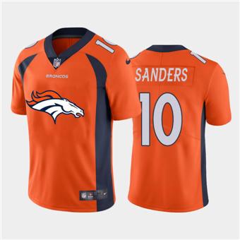 Men's Broncos #10 Emmanuel Sanders Orange Football Team Big Logo Fashion Vapor Limited Jersey