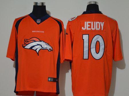 Men's Broncos #10 Jerry Jeudy Orange Football Team Big Logo Fashion Vapor Untouchable Limited Jersey