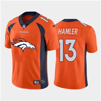 Men's Broncos #13 KJ Hamler Orange Football Team Big Logo Fashion Vapor Limited Jersey