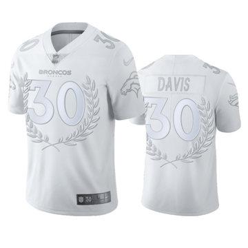Men's Broncos #30 Terrell Davis White Platinum Stitched Olive Branch MVP Edition Limited Jersey