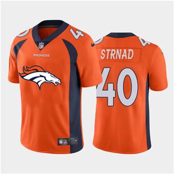 Men's Broncos #40 Justin Strnad Orange Football Team Big Logo Fashion Vapor Limited Jersey