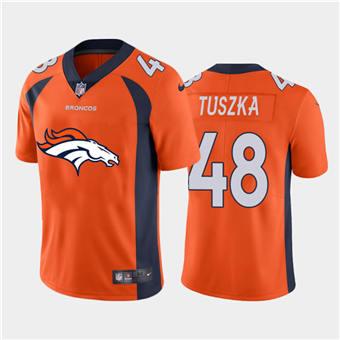 Men's Broncos #48 Derrek Tuszka Orange Football Team Big Logo Fashion Vapor Limited Jersey