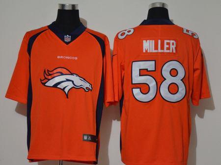 Men's Broncos #58 Von Miller Orange Football Team Big Logo Fashion Vapor Untouchable Limited Jersey