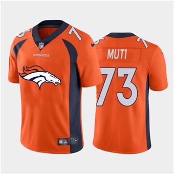 Men's Broncos #73 Netane Muti Orange Football Team Big Logo Fashion Vapor Limited Jersey