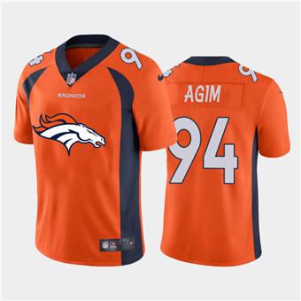 Men's Broncos #94 McTelvin Agim Orange Football Team Big Logo Fashion Vapor Limited Jersey