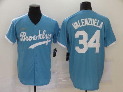 Men's Brooklyn Dodgers #34 Fernando Valenzuela Light Blue Alternate 2020 Cooperstown Collection Baseball Jersey