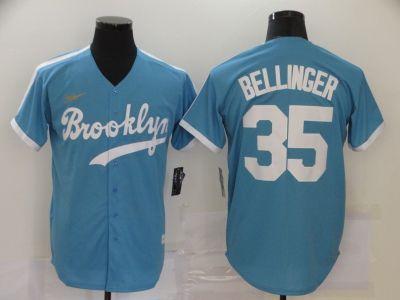 Men's Brooklyn Dodgers #35 Cody Bellinger Light Blue Alternate 2020 Cooperstown Collection Baseball Jersey