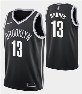 Men's Brooklyn Nets #13 James Harden Black Icon Edition Swingman Stitched Basketball Jersey