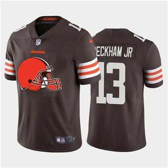 Men's Browns #13 Odell Beckham Jr. Brown Football Team Big Logo Fashion Vapor Limited Jersey
